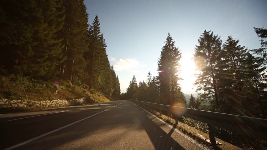 Driving on a mountain road in the black forest with a on-board-camera, germany, Video footage - HD stock video clip