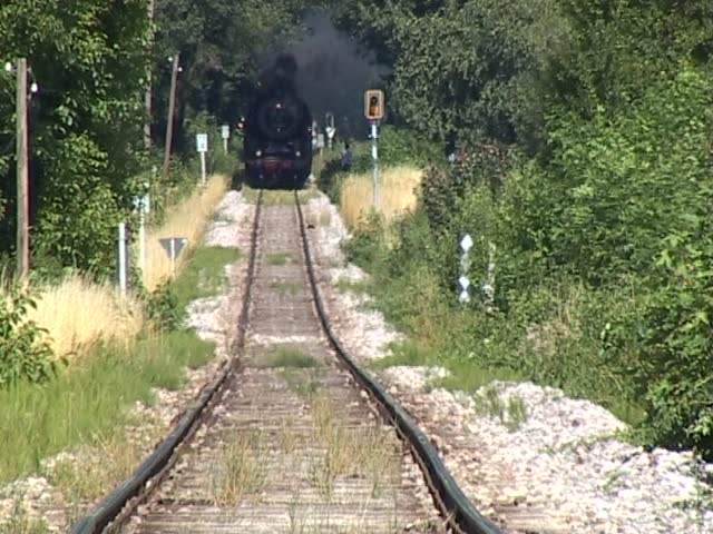 Historic steam train coming straight at the camera