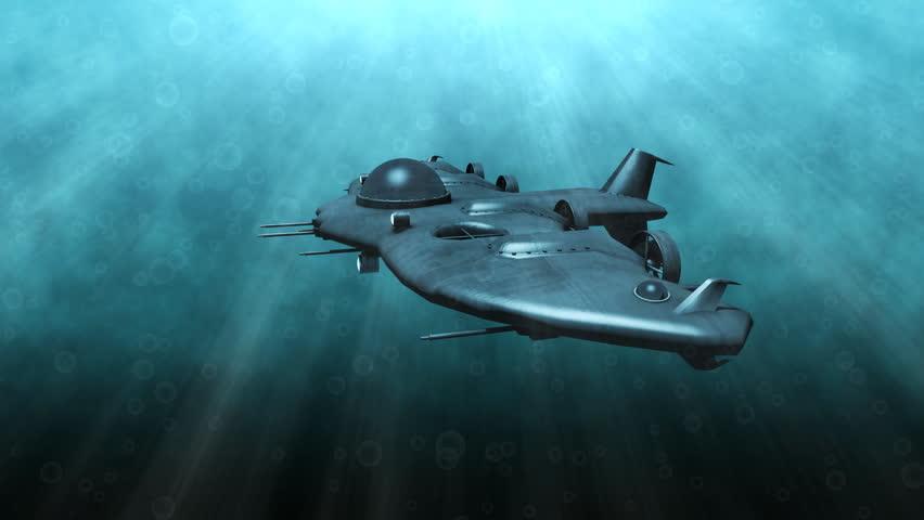 Futuristic Submarine Underwater Scene Stock Footage Video ...