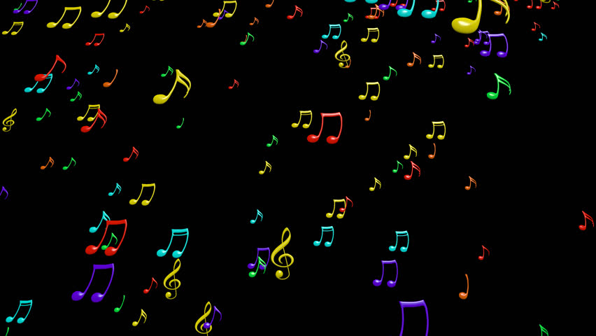 Animated falling colorful 3d music notes in 4k. Transparent background - Alpha channel embedded with 4k PNG file. | Shutterstock HD Video #7484872