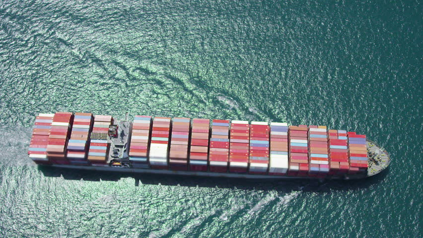 LOS ANGELES JULY 2014 - Aerial of container ship at sea near Los Angeles shipping Port. There are currently over 17 million shipping containers in the world. LOS ANGELES, USA 1 JULY 2014 EDITORIAL