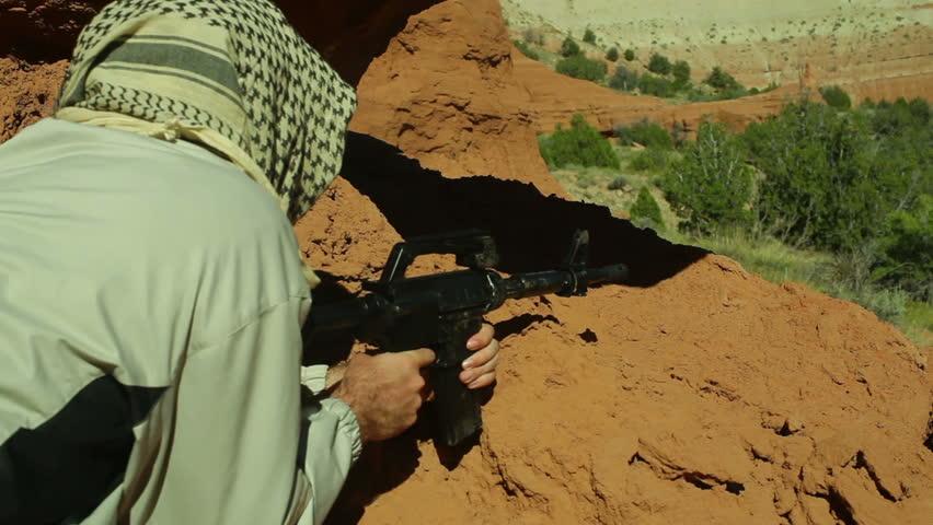 A terrorist in the desert - HD stock video clip