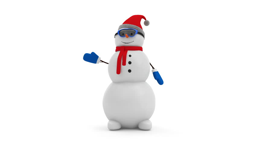 Seamless Looping Animation of Happy Snowman Greeting. HQ Video Clip with Alpha Matte