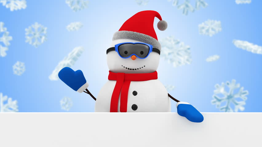 Animation of Happy Snowman Greeting with Blank Board on different backgrounds. HQ Video Clip with Chroma Key and Alpha Channel