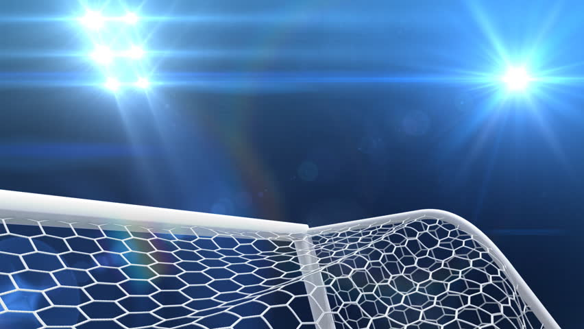 Shooting at Goal, slow motion 3d animation - HD stock footage clip