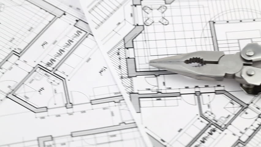 Architecture Design Hd pliers and architectural plan of the modern house stock footage