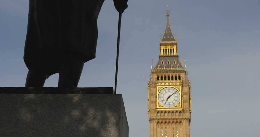 Churchill and Big Ben rack focus zoom. London. June 2014.