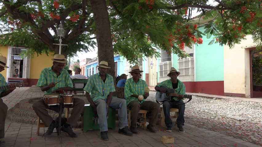 TRINIDAD,CUBA-AUGUST 22, 2014: Traditonal music on the streets of Trinidad a town in the province of Sancti Spíritus. The city has been one of UNESCOs World Heritage sites since 1988.