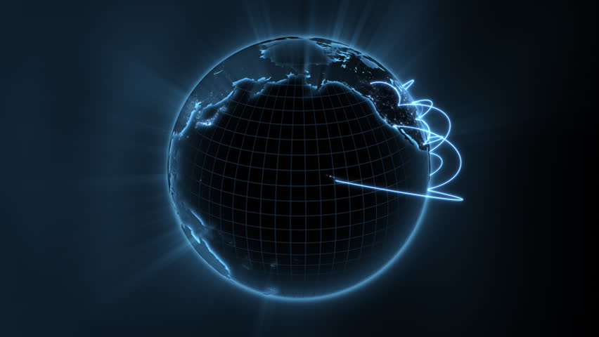 loopable 3d animation of a spinning globe with a growing global network - blue version