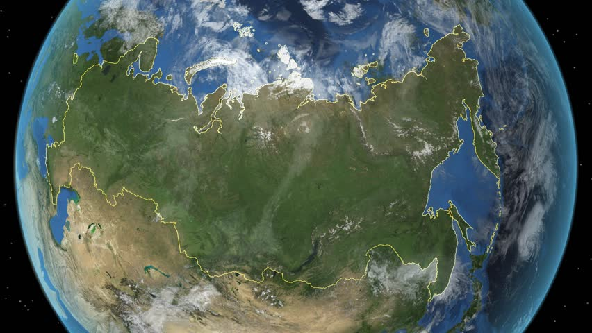 Russia. 3d earth in space - zoom in on Russia contoured.