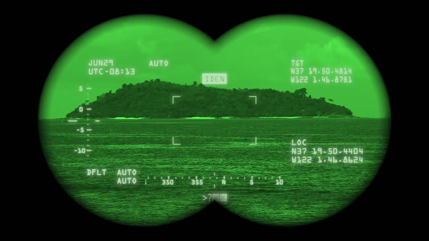 spying island with hightech binoculars stock footage