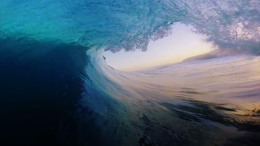 POV Surfing View Of Empty Ocean Wave Crashing