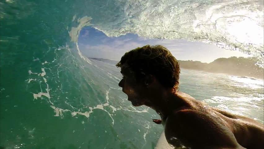 POV Surfer In Barrel Of Ocean Wave, Extreme Sport HD