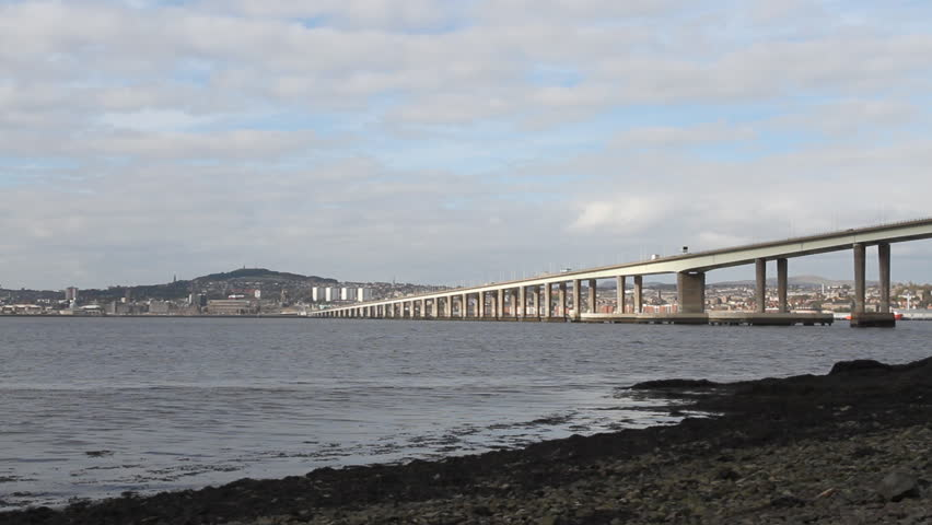 Timelapse of Traffic on Tay Road Bridge and city of Dundee Scotland - HD stock footage clip