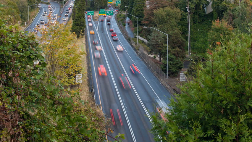 Timelapse Movie of Highway 26 Busy Traffic into Downtown City of Portland Oregon 1920x1080 - HD stock video clip