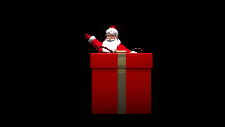 4K Santa stands behind present and gives speech or presentation. Comes with the Alpha.