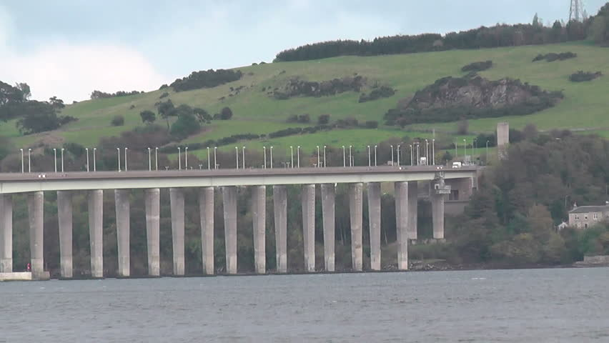 Tay Road Bridge and Tay Estuary Dundee Scotland - HD stock video clip