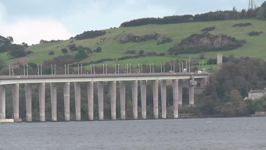 Tay Road Bridge and Tay Estuary Dundee Scotland - HD stock footage clip