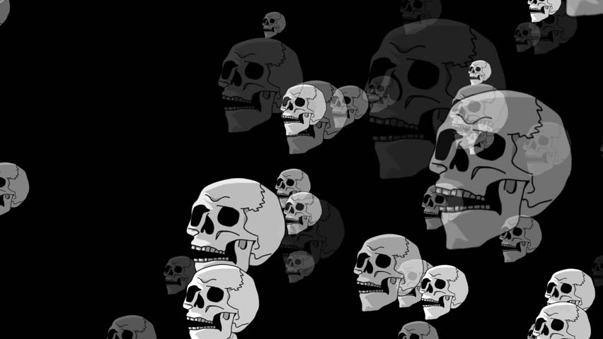 HD animated background featuring skull particles. - HD stock footage clip