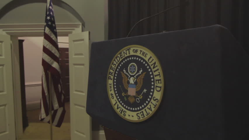 Washington D.C, U.S.A - Circa 2014 - The podium where the president of the united states makes his media appearances at the white house - HD stock video clip