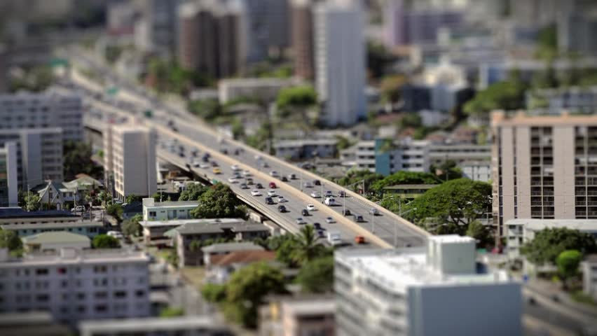 Tilt and shift of Honolulu freeway. - HD stock footage clip