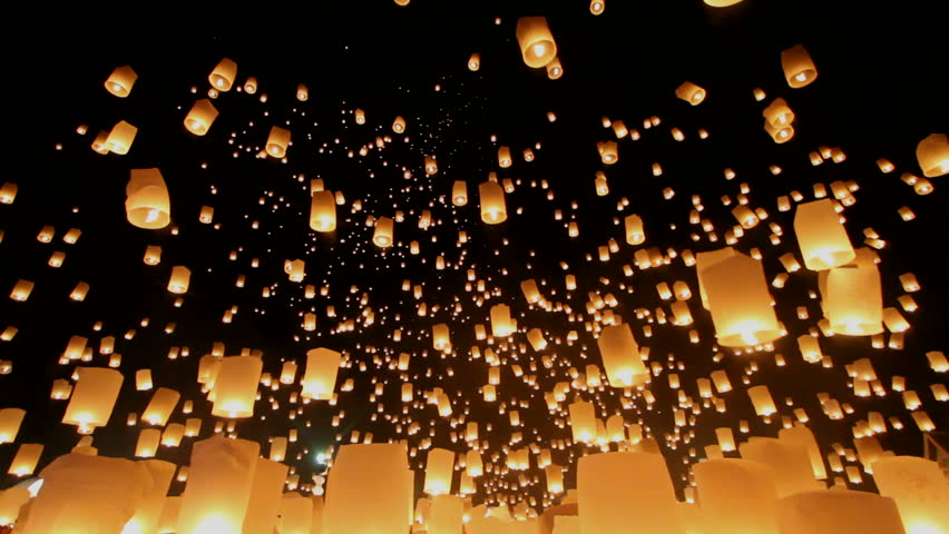 Floating lanterns in Yee Peng Festival, Loy Krathong celebration in Chiangmai, Thailand. Uprisen wide angle view.