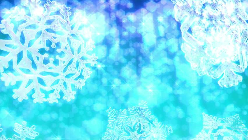 Big Christmas Snowflakes Loop With Sparkly Defocused Snow