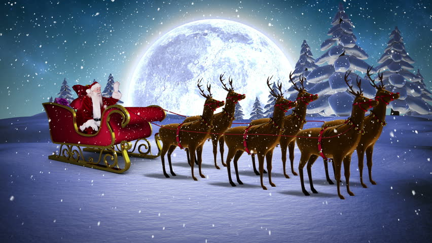 digital animation of santa waving in his sleigh with. Black Bedroom Furniture Sets. Home Design Ideas