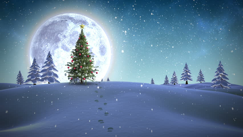 Hd beautiful christmas scene animated art light snow for Christmas landscape images