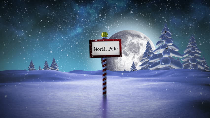 Digital Animation Of Santa Standing In The North Pole