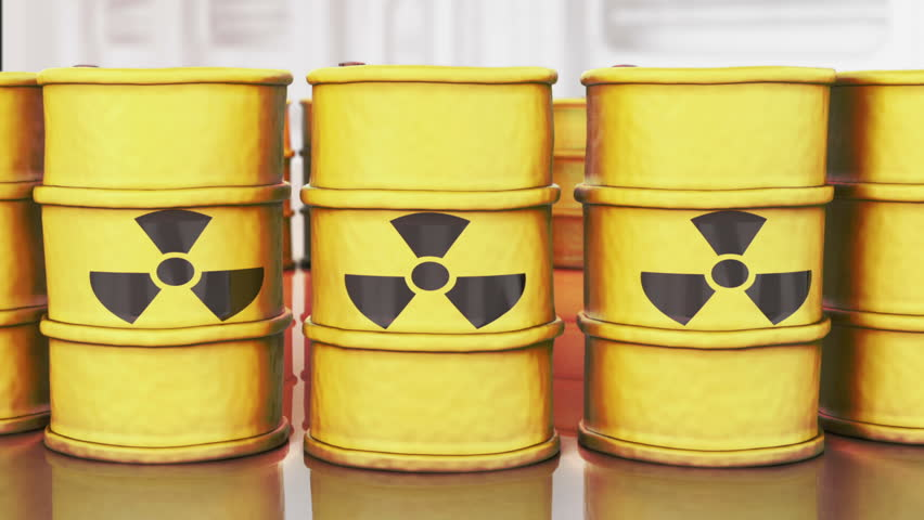 Yellow Barrels filled with toxic waste are standing in a row. The camera is moving from the left to the right. Radioactive waste caused by technology is a hazard for the environmet