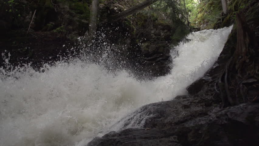 BX falls spring runoff true 240fps slow motion pan down shutter - HD stock video clip