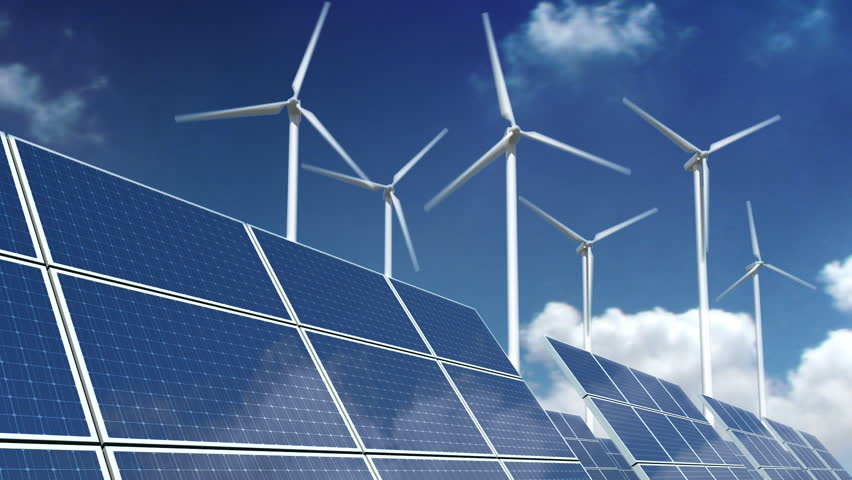 Solar panel array and wind turbines over a sky time laps. - HD stock footage clip