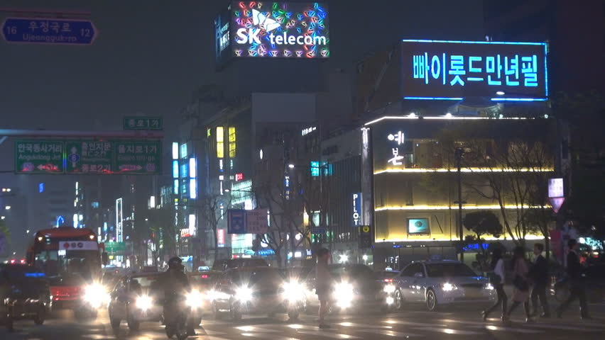 SEOUL - SOUTH KOREA, APRIL 20, 2012, Heavy traffic street in downtown by night  - HD stock footage clip