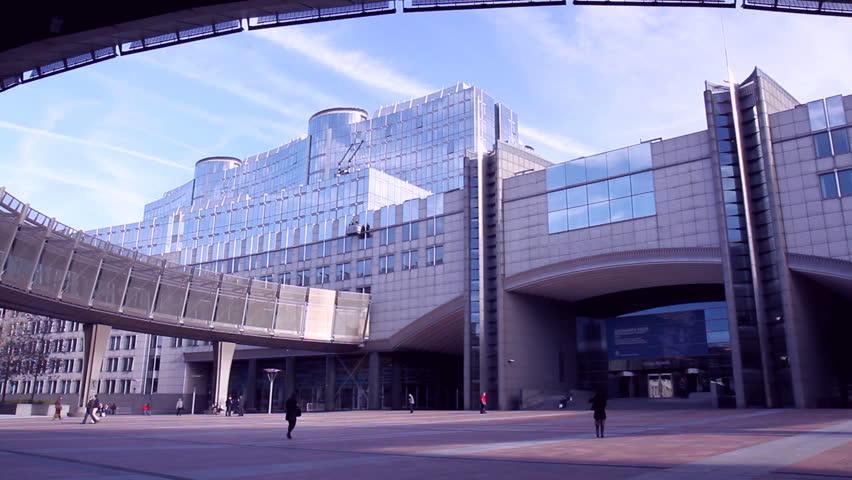 BRUSSELS, BELGIUM - OCTOBER 31 2014 European parliament in Brussels (Belgium). - HD stock footage clip