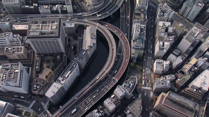 Aerial overhead Metropolis view Hakozaki Interchange Tokyo city elevated vehicle Expressway large Urban area Japan