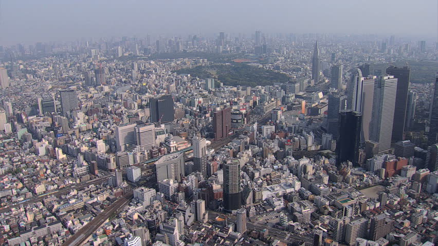 Aerial overhead Metropolitan cityscape view city skyscrapers Business district Tokyo Rail Station Japan East Asia