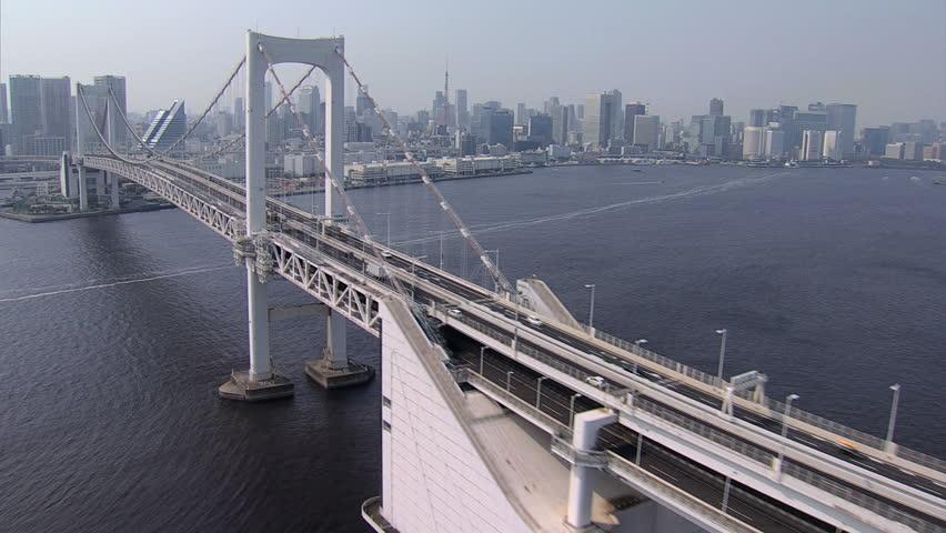Aerial view Rainbow Suspension Bridge Metropolitan Tokyo Bay Shuto Expressway No 11 Odaiba city district Japan #7796020