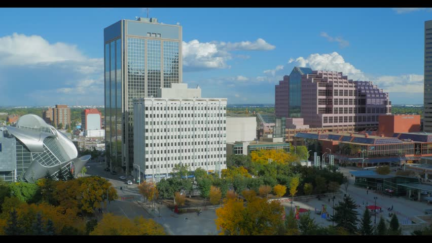 Static shot of Churchill Square in downtown Edmonton on a sunny autumn day.