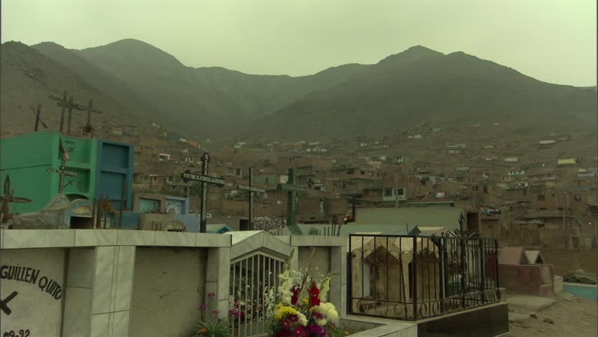 A graveyard in the shadow of the mountains in Lima, Peru, - HD stock footage clip