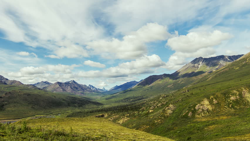 Timelapse shot of overview of Yukon Territory's famous Tombstone Range.