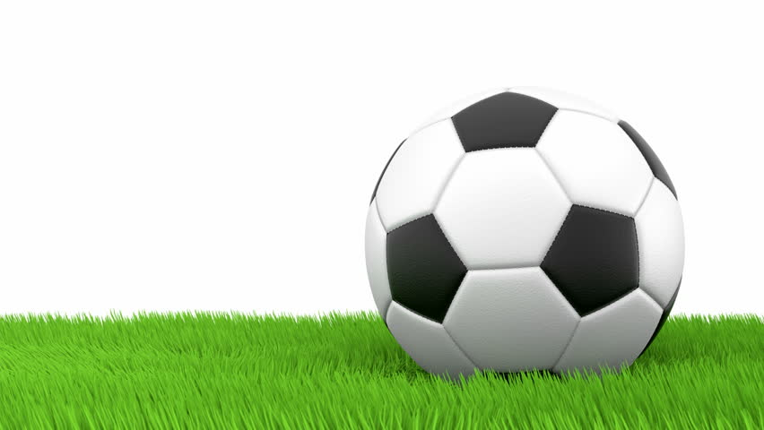 soccer ball bouncing on green grass 3d animation stock
