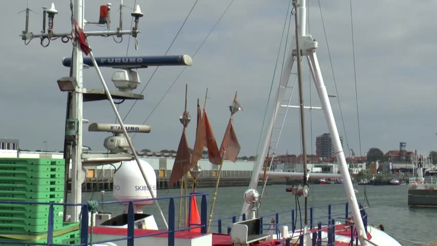 IJmuiden,The Netherlands,-september 2014 province of North Holland :Ships docking in the harbor - HD stock video clip