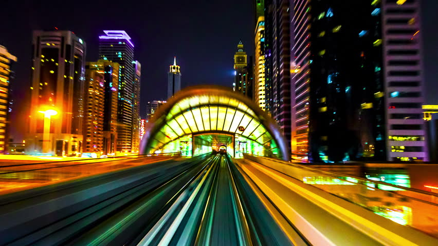 4K TimeLapse - Best view from windshield window of the first wagon of night Dubai metro, November 2012