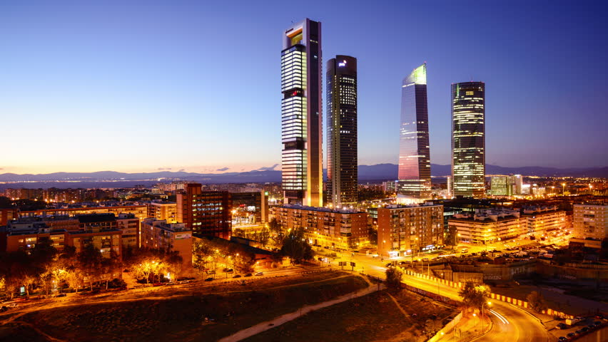 Madrid, Spain financial district skyline. - 4K stock video clip