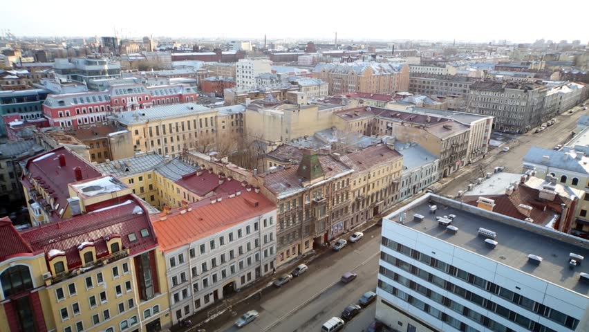 Colourful cityscape of Saint Petersburg, view from above. - HD stock video clip