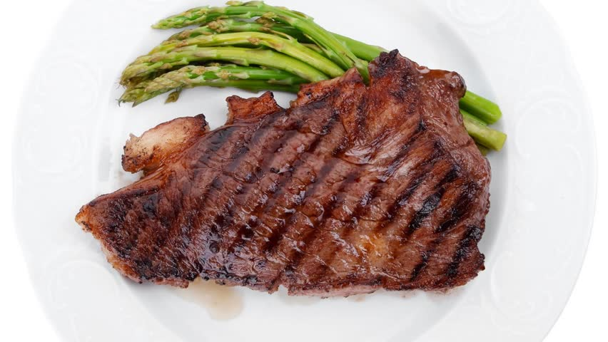meat table : grilled beef fillet with asparagus served plate 1080p 1920x1080 intro motion slow hidef hd