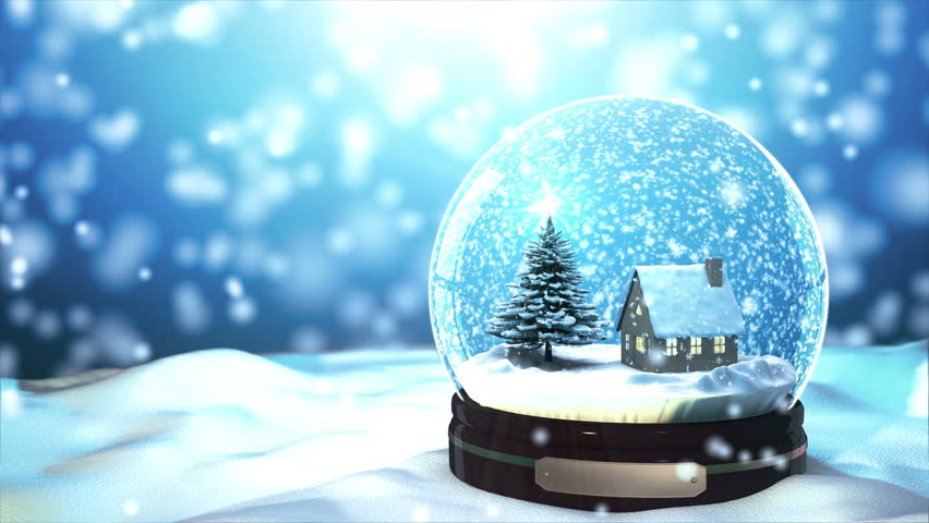 4K Loop able Christmas Snow globe Snowflake with Snowfall on Blue Background - 4K stock video clip
