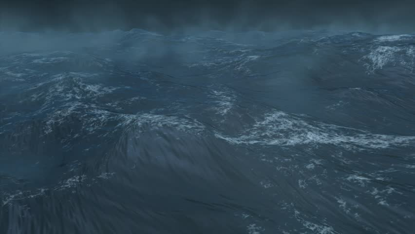 High quality 3D render of stormy ocean, extremely realistic, created using Maya and Digital Fusion. - HD stock video clip