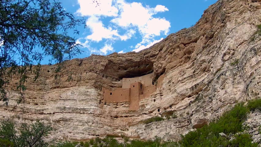 CAMP VERDE, AZ: October 1, 2014- Zoom in shot of the Montezuma Castle National Monument circa 2014 in Camp Verde. Tourist attraction boasts spectacular view of incredible historic engineering design. - HD stock video clip
